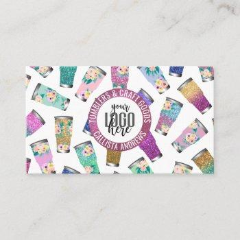 cute pink teal floral glitter tumbler crafter logo business card