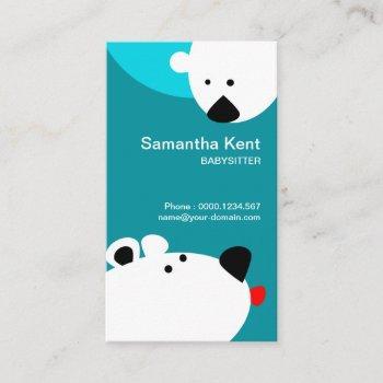 cute polar bear sticking  out tongue babysitting business card