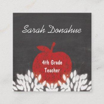 cute red apple chalkboard school teacher square business card