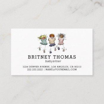 cute simplistic babysitter childcare business card