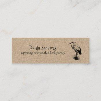 cute stork doula midwife kraft mini business card