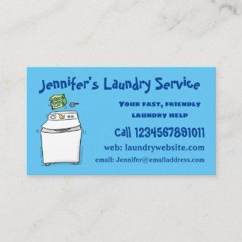 cute washing machine laundry cartoon illustration business card