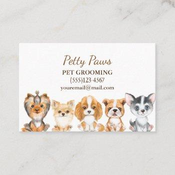 cute watercolor puppies pet grooming service business card