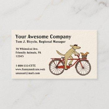 cycling dog with squirrel friend - whimsical art business card