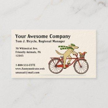 cycling dog with squirrel friend - winter scarf business card