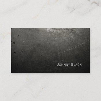 d.j. metal industrial scratched iron black business card
