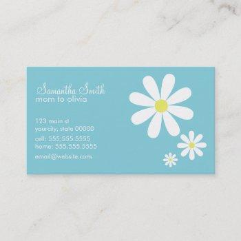 daisies on blue calling card