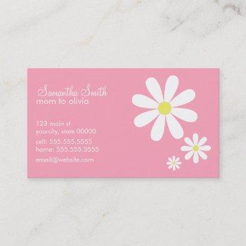 daisies on pink calling card