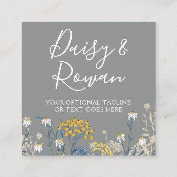 daisy wildflower & yellow rowan berries floral square business card