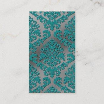 damask cut velvet, silver metallic in teal & gray business card