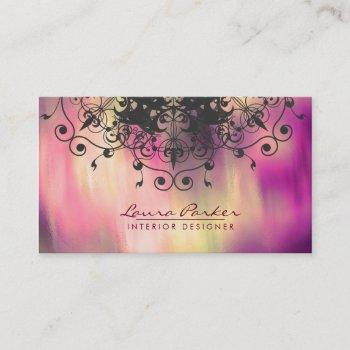 damask mandala watercolor elegant artist vintage business card