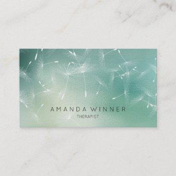 dandelion confetti mint teal ombre therapist business card