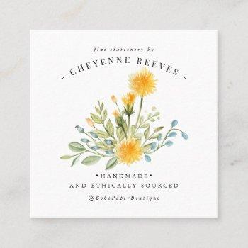 dandelion wishes | spring wildflower square business card