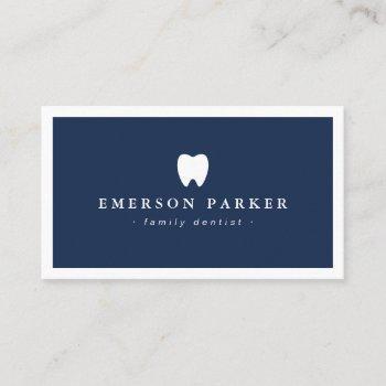 dark blue dentist tooth logo modern minimalist business card