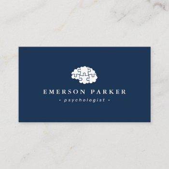 dark blue psychologist psychiatrist counselor business card