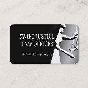 dark deco lady of justice business card