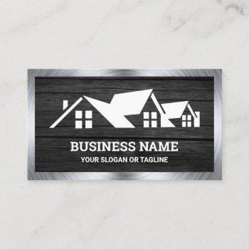 dark grey wood house roofing construction roofer business card