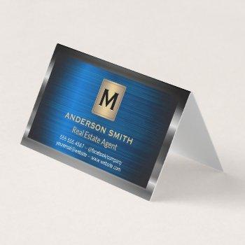 dark metallic frame | blue metallic background business card