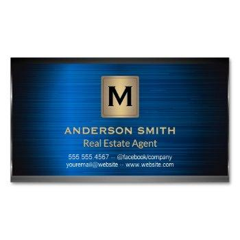 dark metallic frame | blue metallic background business card magnet