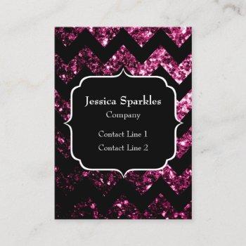 dark pink glitter sparkles black chevron monogram business card