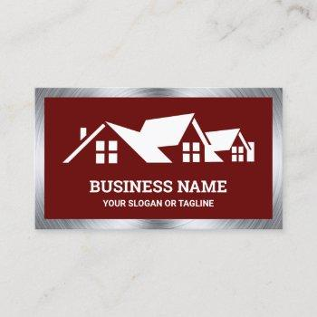 dark red house roofing construction roofer business card