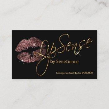 dark rose glitter and gold lips business card
