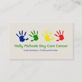 daycare / babysitter handprints business cards