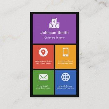 daycare child care - colorful tiles creative business card