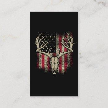 deer skull hunter american flag deer hunting usa business card
