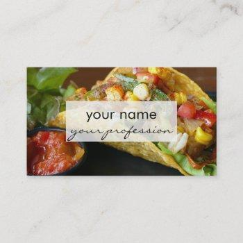 delicious mexican tacos photograph business card