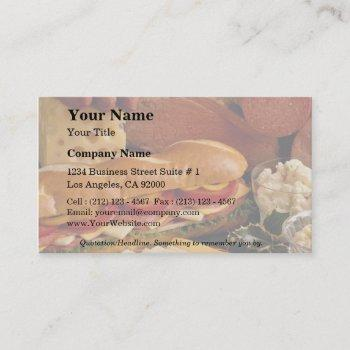 delicious submarine sandwich with meats and cheese business card