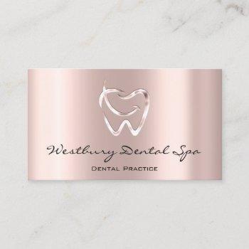 dental studio smile logo blush rose dentist business card