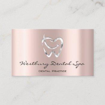 dental studio smile logo silver rose dentist business card