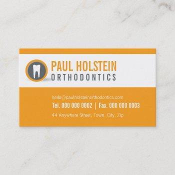 dentist business card :: modern tooth logo orange