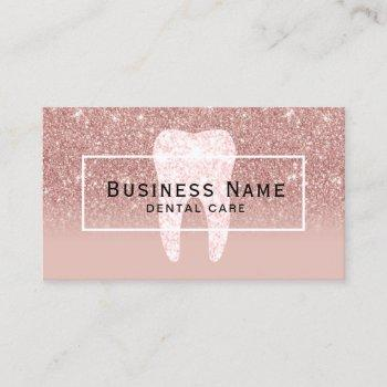 dentist glitter tooth rose gold ombre dental care business card