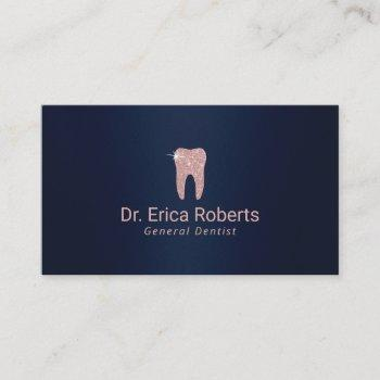 dentist rose gold tooth navy blue dental care business card