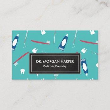 dentist tools pattern | pediatric dentistry business card