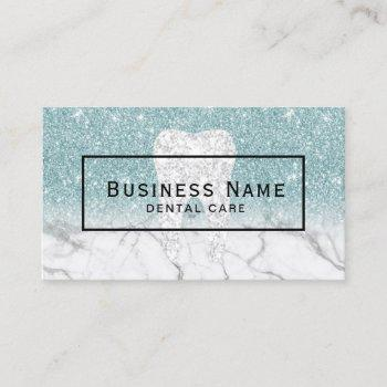 dentist tooth blue glitter marble dental care business card