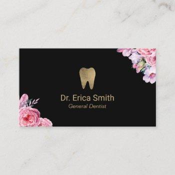 dentist vintage floral gold tooth dental care business card