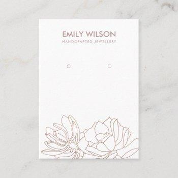 desert cactus succulent blush pink earring display business card