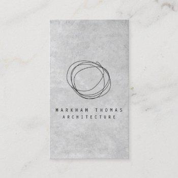 designer scribble logo on gray concrete business card