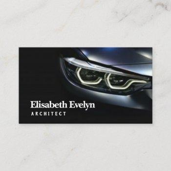 detail on one of the led headlights modern car business card