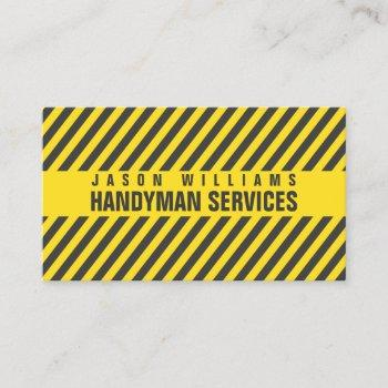 diagonal stripes construction style business card