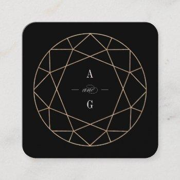 diamond rose gold gemstone geometric stylish chic square business card