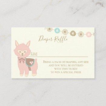 diaper raffle alpaca baby shower business card