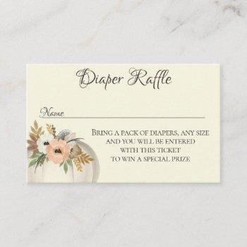diaper raffle floral pumpkin fall baby shower business card