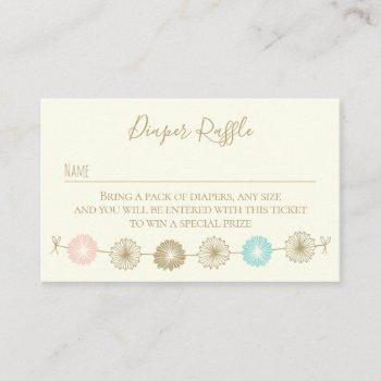 diaper raffle paper garland baby shower business card