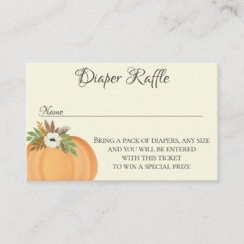 diaper raffle pumpkin fall baby shower business card