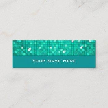 disco tiles aqua business card skinny
