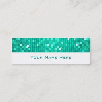 disco tiles aqua business card skinny white
